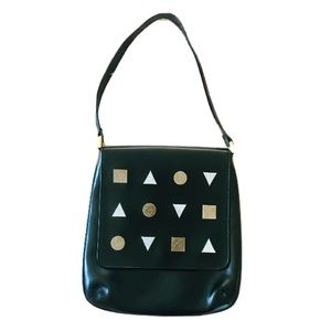 HYPE LEATHER SHOULDER BAG WITH GEOMETRIC SHAPES